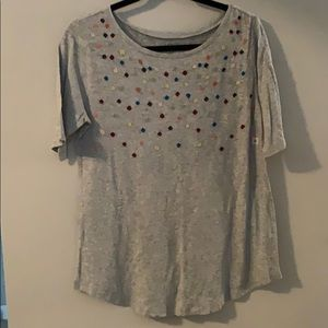 NWT LOFT Outlet grey top with dots